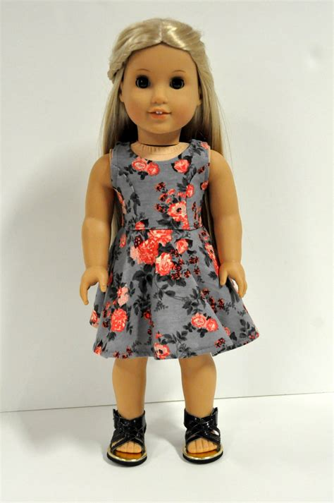18 Inch Doll Wardrobe by 18 Inch Doll Clothes Gray And Coral Floral Print Sleeveless