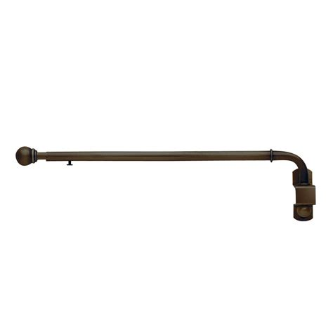 swing out arm curtain rod shop style selections 20 in to 36 in darjeeling bronze
