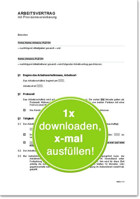 Anschreiben Verkaufer Im Aubendienst Arbeitsvertrag Mit Provisionsvereinbarung