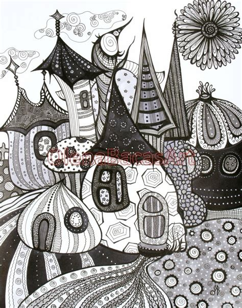 doodle drawings for sale black grey white original abstract tale town