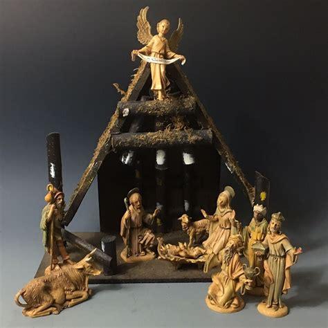 italian nativity creches vintage depose italy fontanini nativity set real bark wood stable creche ebay