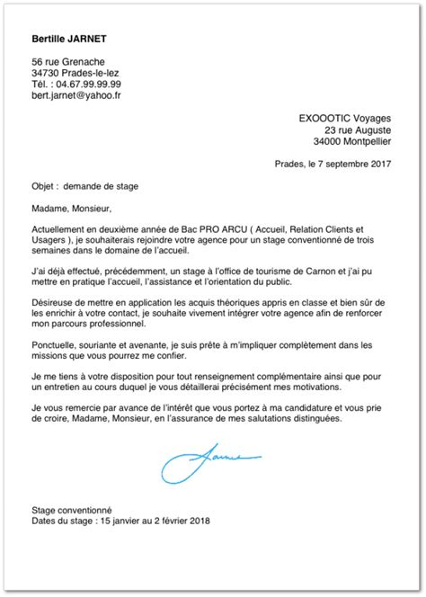 Lettre De Motivation Stage Office Tourisme Exemple De Lettre De Motivation Pour Un Stage En Bac Pro