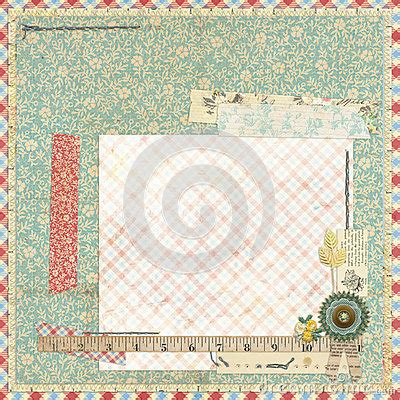 Floral Embellishments For Your Scrapbook Layouts by Floral Scrapbook Layout With Vintage Embellishments Stock