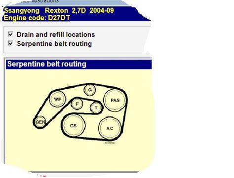 fan belt diagram  ssangyong musso rexton turbo diesel