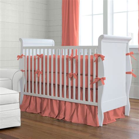 Coral Baby Crib Bedding Solid Coral Crib Bedding Crib Bedding Carousel Designs