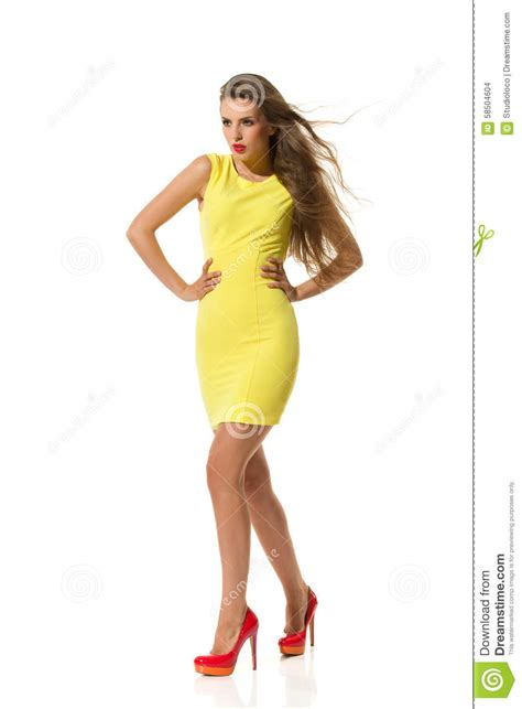 Dress Model Style Impor Yellow Purple Pink fitted yellow mini dress stock photo image of caucasian 58504604