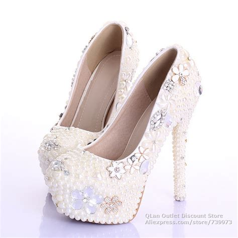 high heels with pearls bling ivory wedding shoes pearls with rhinestones platform