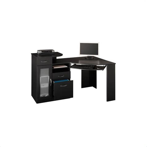 Black Wood Computer Desk Bush Vantage Corner Wood Black Computer Desk Ebay