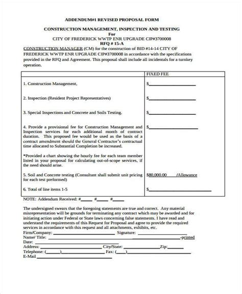 construction bid form template doc 12751650 free construction forms