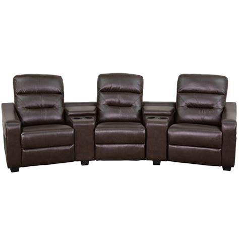 Recliner With Cup Holders by Futura Series 3 Seat Reclining Brown Leather Theater
