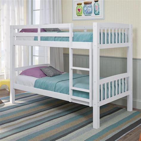 White Loft Bed by Corliving Dakota White Single Bunk Bed Bdn 210 B