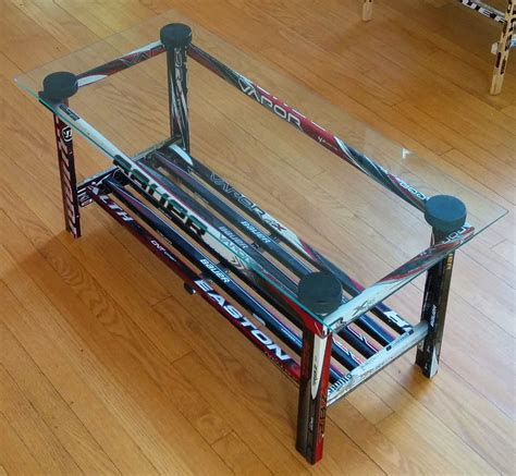 table and stick coffee table glass top hockey stick builds