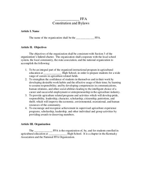 Sle Constitution Organization Constitution And Bylaws Template