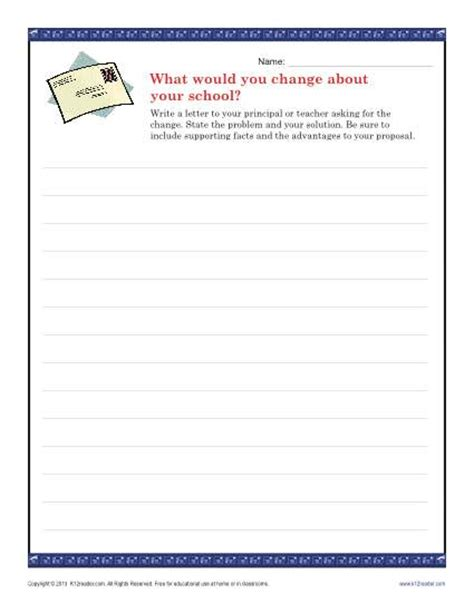 Letter Writing Ideas School Change Letter Persuasive Writing Prompt For 9th 12th Grade
