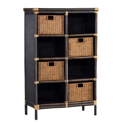 padma s plantation bookcase with rattan peel baskets bk02