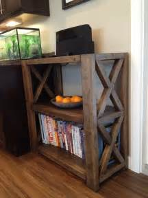 white rustic x bookshelf diy projects