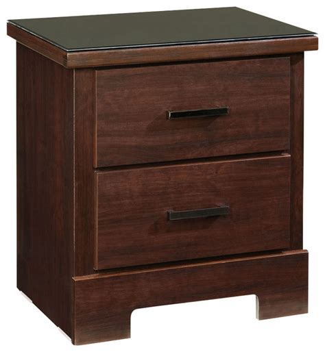 Glass Nightstand Standard Furniture Marshall Merlot 2 Drawer Nightstand
