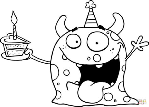 birthday coloring page happy celebrates birthday with cake coloring page