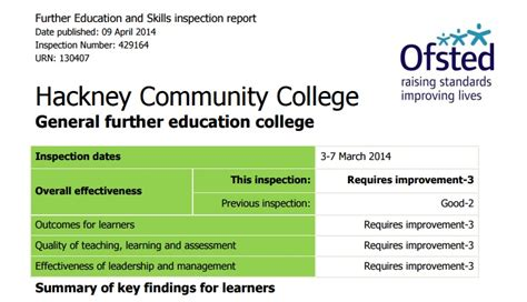 layout inspection report definition hackney community college first to be rated under new