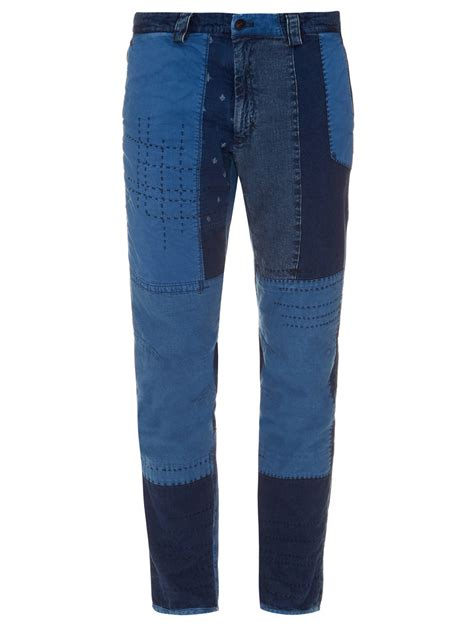 Patchwork Denim - blue blue japan patchwork denim trousers in blue for
