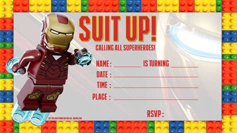 iron birthday card template free iron lego invitation template free invitation