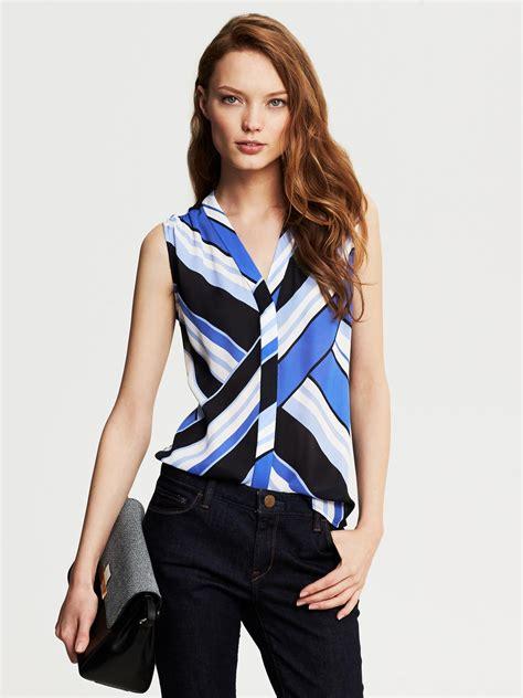 Blue Stripe Sleeveless Top banana republic bold stripe sleeveless blouse riviera blue