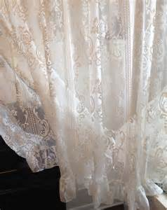 Cottage Lace Curtains Vintage Ivory Roses Lace Curtain Lace Panel Wide Cottage Lace
