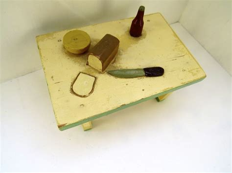 Handmade Wooden Dollhouse - vintage handmade wooden dollhouse table by bristoy from
