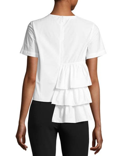 29940 Flounced Sleeve Top co sleeve tiered ruffle top white