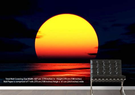 Wall Murals Ocean huge golden sun over ocean sunset wallpaper printed wall paper