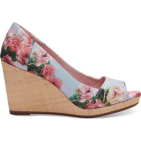 pink patterned espadrilles toms pink graphic floral print women s stella peep toe