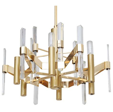 brass and chandeliers sciolari brass and glass chandelier at 1stdibs