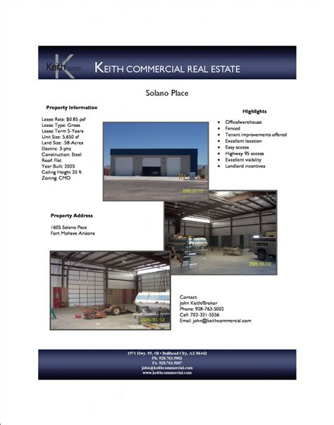 Marketing Flyer From Keith Commercial Real Estate In Bullhead City Az 86442 Commercial Real Estate Marketing Template