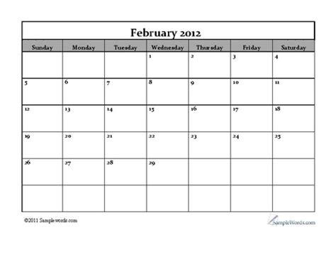 February 2012 Calendar Searabkesen February 2012 Calendar Printable