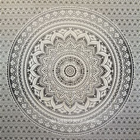 Home Floor And Decor Grey Amp Black Floral Ombre Medallion Tapestry Bedding Throw