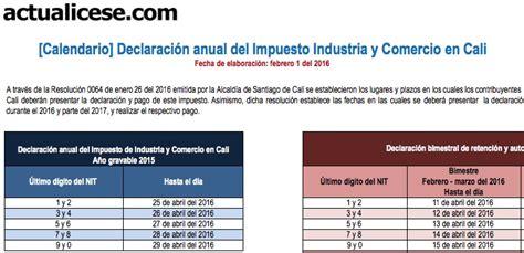 formulario industria y comercio cali en excel calendario declaraci 243 n anual del impuesto de industria y