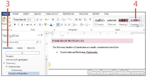 membuat daftar isi table of content cara membuat daftar isi table of contents di word 2013