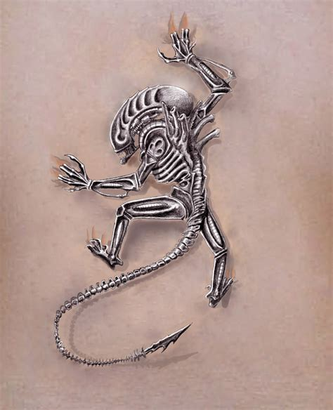 tribal xenomorph tattoo climbing design