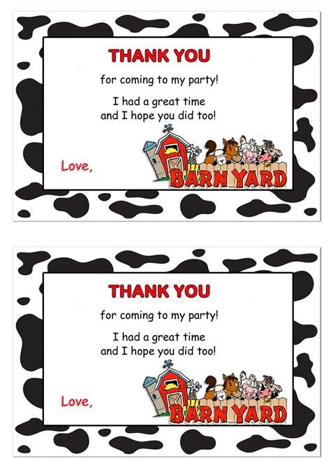 Barnyard Thank You Cards