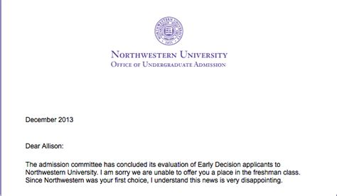 Acceptance Letter Northwestern The Rejected
