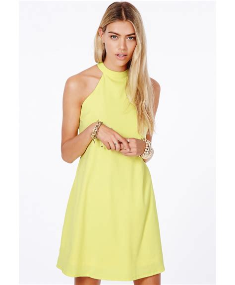 Halterneck Dress missguided nikola halterneck shift dress in yellow in yellow lyst