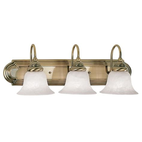 Antique Vanity Lights Shop Livex Lighting 3 Light Belmont Antique Brass Bathroom Vanity Light At Lowes