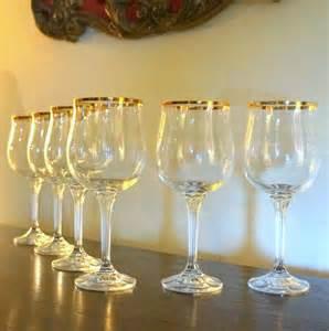 Gold Rimmed Wine Glasses Vintage Gold Trimmed Tulip Bowl Beveled Stem Wine Glass