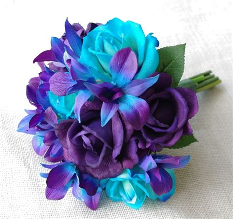 Aqua Colored Home Decor by Natural Touch Purple And Teal Turquoise Roses With Mokara