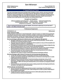 Technical Resume Example Technical Trainer Resume Example