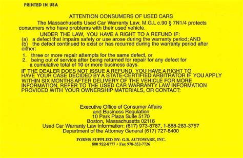 Lemon Notice Letter Lemon Sticker Audit Results Mass Consumer Affairs