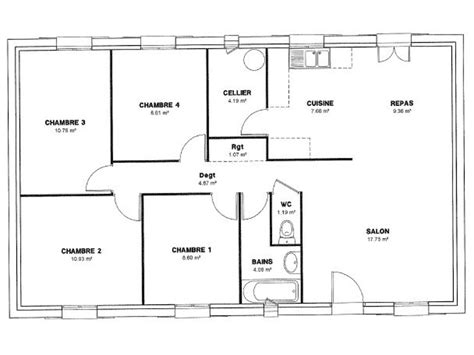 plan maison moderne 4 chambres plan de maison 4 chambres salon
