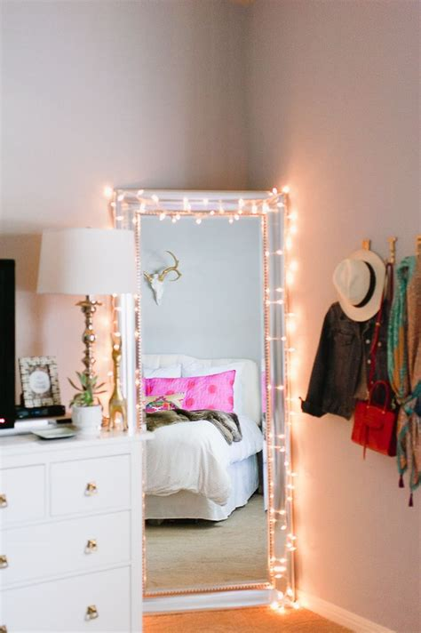 Bedroom Mirror With Lights Twinkle Lights Around A Length Mirror Theeverygirl Apartment Pinterest