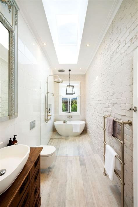 great layout   narrow space bathrooms pinterest