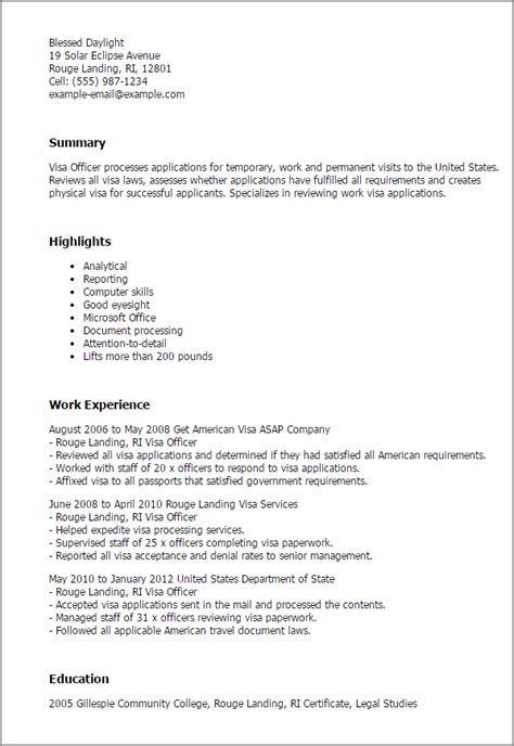 Letter From Employer To Embassy Exles Professional Visa Officer Templates To Showcase Your Talent Myperfectresume